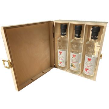 Holzkiste für 3 x 0,10lt Flaschen (Kiste leer)