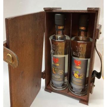 Holzkiste braun für 2 x 0,35lt Flasche (Kiste leer)